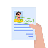 Job application Approved document paper. Vector isometric illustration