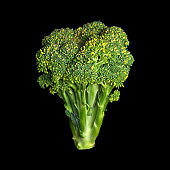 Fresh broccoli isolated on black background