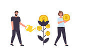 Revenue increase, money tree, high budget concept with happy businessman. Investment profit. Vector illustration.