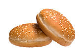 Two burger buns isolated on white background