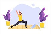 Online sports tutorial, Yoga studios streaming consept. Working out at home. Vector illustration
