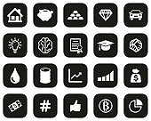 Investment Plan Icons White On Black Flat Design Set Big