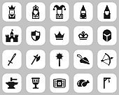 Medieval Time & Culture Icons Black & White Flat Design Set Big