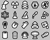 Nuclear Power Plant Icons White On Black Sticker Set Big