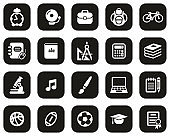 University Or College Icons White On Black Flat Design Set Big