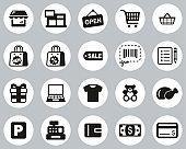 Shopping Mall Or Supermarket Icons Black & White Flat Design Circle Set Big