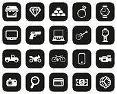 Pawn Shop Or Thrift Store Icons White On Black Flat Design Set Big