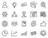 Consulting Icons Thin Line Set Big