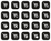 Shopping & Online Shopping Icons White On Black Flat Design Set Big