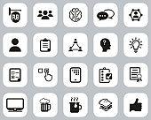 Pub Quiz Or Bar Quiz Icons Black & White Flat Design Set Big