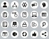 Survey Or Poll Icons Black & White Flat Design Circle Set Big