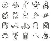 Pollution Or Contamination Icons Black & White Thin Line Set Big