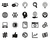 Research & Development Process Icons Black & White Set Big