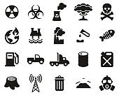 Pollution Or Contamination Icons Black & White Set Big