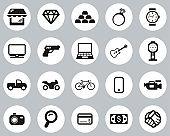 Pawn Shop Or Thrift Store Icons Black & White Flat Design Circle Set Big