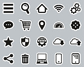 Search Engine Or User Interface Icons Black & White Sticker Set Big
