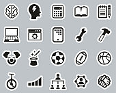 Skill & Talent Icons Black & White Sticker Set Big