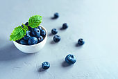 Fresh blueberries in a white bowl.