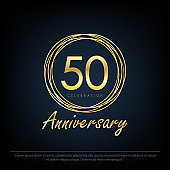 50 Anniversary celebration emblem. elegance golden anniversary logo with rings on black background, vector illustration template design for web, flyers, greeting card & invitation card