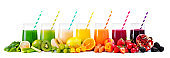 Assortment of fresh fruits and vegetables juices in rainbow colors