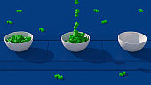 Green dollar sign and white bowl. Blue conveyor. Salary concept. Abstract animation, 3d render.