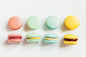Sweet almond colorful pastel pink blue yellow green macaron or macaroon dessert cake isolated on white background. French sweet cookie. Minimal food bakery concept. Flat lay top view, copy space