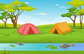 Camping Adventure Outdoor Park River Nature Landscape Cartoon Illustration