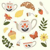 Tea service, garden flowers and snacks. Set of tea time elements.