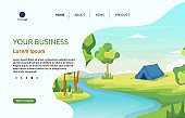 Camping Adventure River Nature Landscape Cartoon Landing Page Web Template