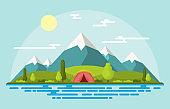 Camping Adventure Outdoor Park Mountain Nature Landscape Cartoon Illustration