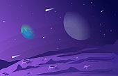 Landscape Surface of Planet Sky Space Science Fiction Fantasy Illustration