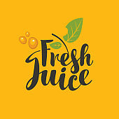 vector logo with inscription Fresh juice and leaf