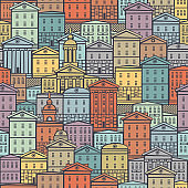 urban seamless pattern with old colored houses