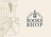 Vintage banners for book shop with Vitruvian man