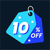 Icon number up to 10% off special discount or sale template
