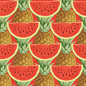 seamless pattern with ripe fruit on a red backdrop