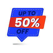 Icon number up to 50% off special discount or sale template