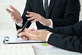 Business scene, business person in meeting, consulting and presentation