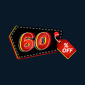 Icon number up to 60% off special discount or sale template