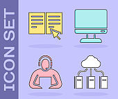 Set Cloud or online library, Online book, Student and Computer monitor screen icon. Vector