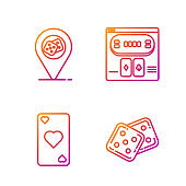 Set line Game dice, Playing card with heart symbol, Casino location and Online poker table game. Gradient color icons. Vector