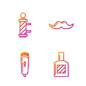 Set line Aftershave, Electrical hair clipper or shaver, Classic Barber shop pole and Mustache. Gradient color icons. Vector