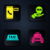 Set Taxi car, Taxi call telephone service, Taxi car roof and Hand on map pointer with taxi. Black square button. Vector