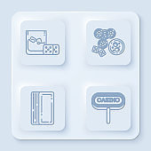 Set line Game dice and glass of whiskey with ice cubes, Casino chips, game dice and glass of whiskey with ice cubes, Deck of playing cards and Casino signboard. White square button. Vector