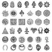 Set of various architect detailed elements. Brass or stone pineapple finial hand drawing. Detailed design drawings and round tiles. Line work backgrounds.  Vector.