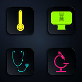 Set Microscope, Medical thermometer, Stethoscope and DNA spiral and computer. Black square button. Vector