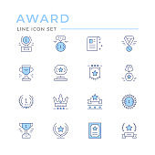 Set color line icons of award