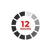 12h color icon and time concept