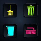 Set Brush for cleaning , Handle broom , Trash can and Trash can . Black square button. Vector