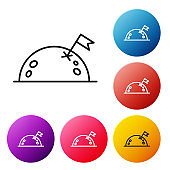 Black line Planet with flag icon isolated on white background. Set icons colorful circle buttons. Vector Illustration